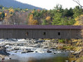 Covered bridge in fall Stock Photo