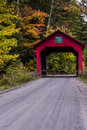 Covered Bridge and Gravel Road - Autumn / Fall - Vermont Royalty Free Stock Photo