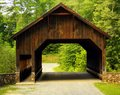 Covered bridge old wooden in the forest Royalty Free Stock Photography
