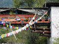 Covered bridge and prayer flags Royalty Free Stock Photo