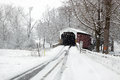 Covered Bridge in Snow Stock Photo