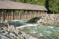 Covered bridge wooden across the river in whistler british columbia Royalty Free Stock Image