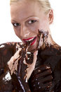 Covered in choclate finger Royalty Free Stock Image
