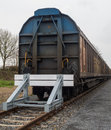 Covered goods wagons sidings buffer stop Royalty Free Stock Photos