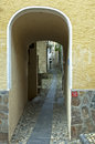 Covered passages ronco sopra ascona ticino switzerland narrow lanes run through Royalty Free Stock Image