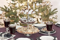 Covered table at christmastime Royalty Free Stock Photo