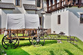 Covered wagon on rural medieval scene Stock Photography