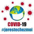 Covid-19 Coronavirus protection mask. Global pandemic prevention. Hashtags i stay at home in french. Vector. Royalty Free Stock Photo
