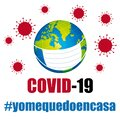 Covid-19 Coronavirus protection mask. Global pandemic prevention. Hashtags i stay at home in spanish. Vector .