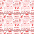 COVID-19 Coronavirus rules. Seamless vector pattern with text and symbol. Wear gloves, wear a mask, wash your hands, use