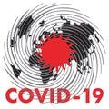 Covid 19. Coronovirus on planet earth Stop coronovirus on planet earth, font poster with red font on a white background, vector,