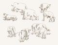 Cow animal husbandry set of vector elements Stock Image