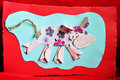 Cow aplique work handmade by a child of paper and textile on red background Royalty Free Stock Photos