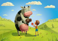 The cow and the boy on the meadow cash pours milk into cup Royalty Free Stock Images