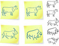 Cow buffalo and bison on post it notes Royalty Free Stock Photography