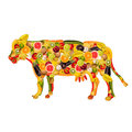 A cow, composed of fruit and vegetables Stock Images