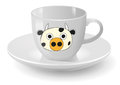 Cow cup illustration of white with graphic Royalty Free Stock Image