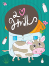 Cow cute illustration of love milk card Royalty Free Stock Photography