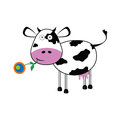 Cow with a flower vector illustration Royalty Free Stock Photo