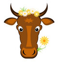 Cow and flowers - Vector Royalty Free Stock Photography