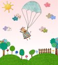 Cow flying with parachute colorful graphic illustration quilt design Royalty Free Stock Images