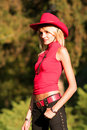 Cow-girl blonde sexy Photographie stock