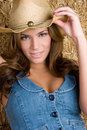 Cow-girl de sourire Photos stock