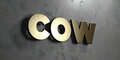 Cow - Gold sign mounted on glossy marble wall  - 3D rendered royalty free stock illustration Royalty Free Stock Photo