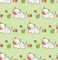 Cow in the grass with flower and mushroom seamless pattern