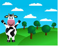 Cow and green hills with trees Royalty Free Stock Photo