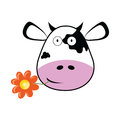 Cow head with a flower vector Royalty Free Stock Photo
