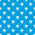 Cow head pattern vector seamless blue Royalty Free Stock Photo