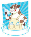 Cow holding a bottle of milk vector complete with blank ribbon Stock Photos
