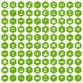 100 cow icons hexagon green