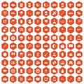 100 cow icons hexagon orange