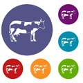 Cow icons set