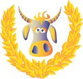Cow and a laurel wreath Royalty Free Stock Photography