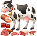 Cow and meat products Royalty Free Stock Photo