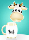 Cow and milk illustration of Stock Photo
