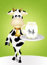 Cow and milk illustration of Stock Photos