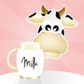 Cow and milk illustration of Royalty Free Stock Photography