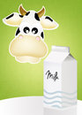 Cow and milk illustration of Royalty Free Stock Photos