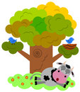 Cow at rest a funny illustration of a resting under a tree Stock Image