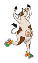 Cow with roller skates funny dancing Royalty Free Stock Photography
