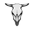 Cow s skull vector illustration of greyscale outlined Stock Images