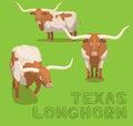 Cow Texas Longhorn Cartoon Vector Illustration