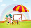 Cow and umbrella illustration of a an in a beautiful nature Royalty Free Stock Images