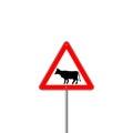 Cow Warning sign red. Farm Hazard attention symbol