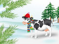 Cow in winter coniferous wood Stock Images