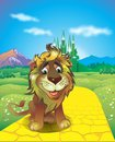 Cowardly lion in the land of oz Royalty Free Stock Image